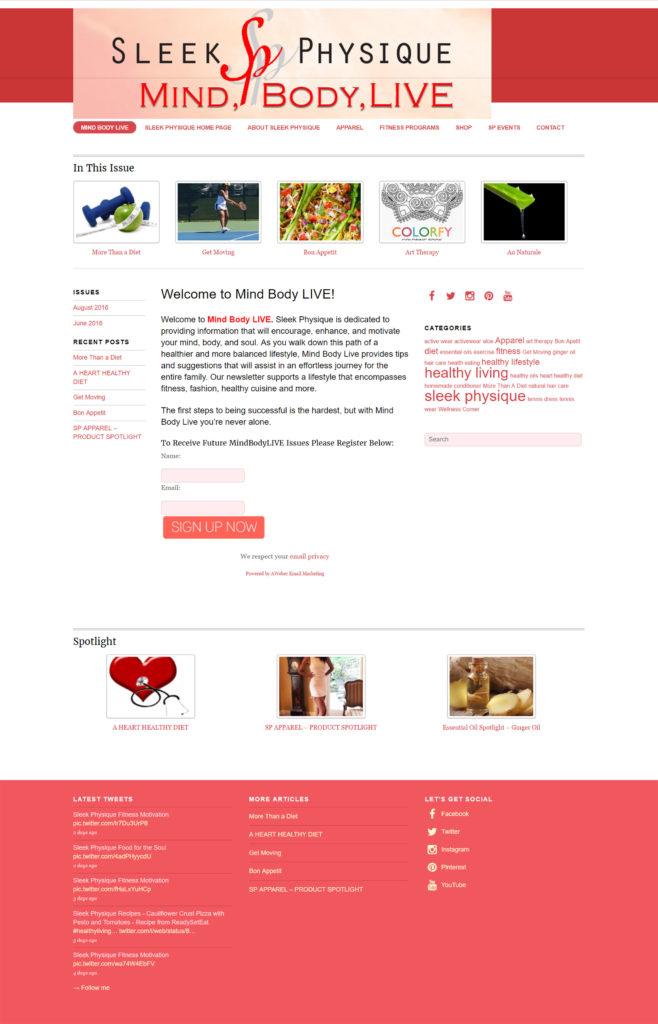 Sleek Physique - Mind Body Live Newsletter/Blog